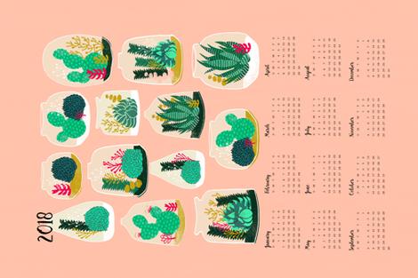 2018  Terrarium Tea Towel Calendar by Andrea Lauren  fabric by andrea_lauren on Spoonflower - custom fabric