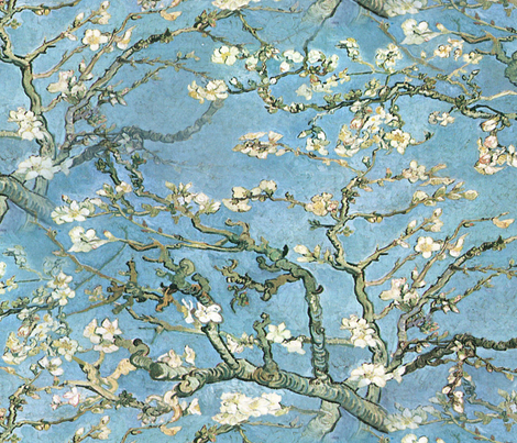 Vincent van Gogh ~ Branches of an Almond Tree in Blossom ~ Large fabric by peacoquettedesigns on Spoonflower - custom fabric