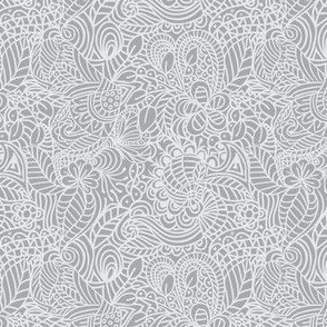 gray and white zentangle