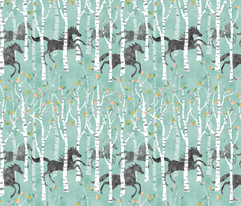 All the Pretty Little Horses in Mint & Coral Pink fabric by vo_aka_virginiao on Spoonflower - custom fabric