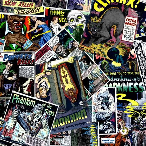 vintage comic book horror - LARGE PRINT fabric by janbalaya on Spoonflower - custom fabric