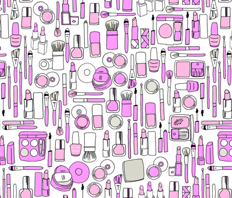 makeup // purple beauty fashion makeup girly print in pastel colors fabric by andrea_lauren on Spoonflower - custom fabric