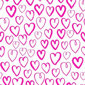 heart // hot pink magenta love valentines hand-drawn inky hearts artist illustration pattern