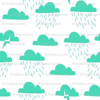 Rain Clouds - Light Jade by Andrea Lauren