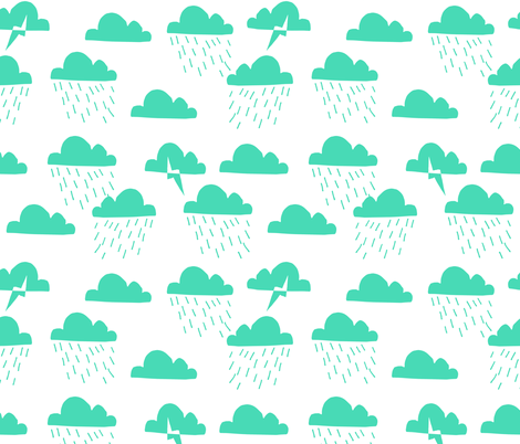 Rain Clouds - Light Jade by Andrea Lauren  fabric by andrea_lauren on Spoonflower - custom fabric