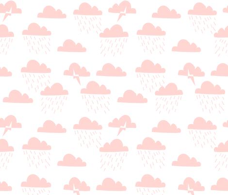 Rain Clouds - Rose Pink by Andrea Lauren  fabric by andrea_lauren on Spoonflower - custom fabric