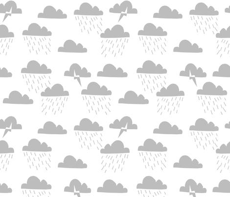 Rain Clouds - Slate by Andrea Lauren  fabric by andrea_lauren on Spoonflower - custom fabric