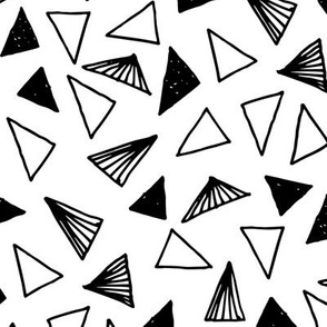 Hand Drawn Triangles - White by Andrea Lauren