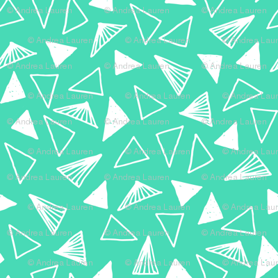 Hand Drawn Triangles - Light Jade by Andrea Lauren
