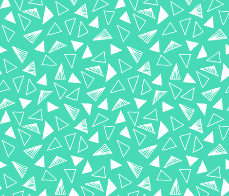 Hand Drawn Triangles - Light Jade by Andrea Lauren fabric by andrea_lauren on Spoonflower - custom fabric