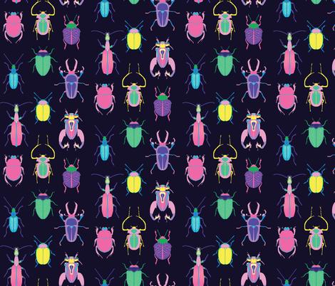 Pop Art Beetles Dark fabric by pinkowlet on Spoonflower - custom fabric