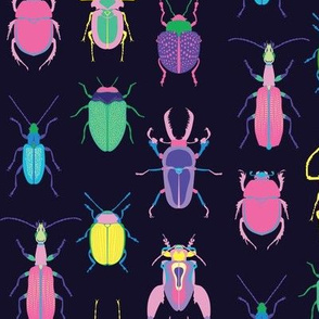 pop art beetles on dark