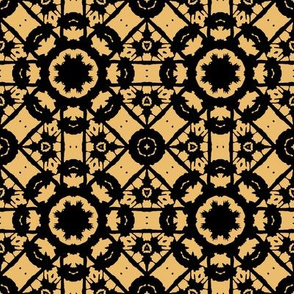 Ornate Gold and Black Floral Geometric