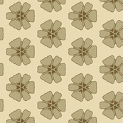 Green Daisies on Light Tan