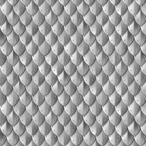 Riveted Scales Armor Silver fabric by wickedrefined on Spoonflower - custom fabric