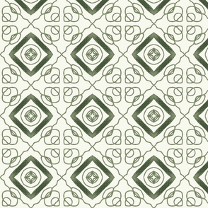 Green and White Abstract Design