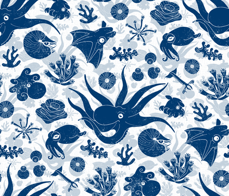 Cephalopods Blue Grunge fabric by mia_valdez on Spoonflower - custom fabric