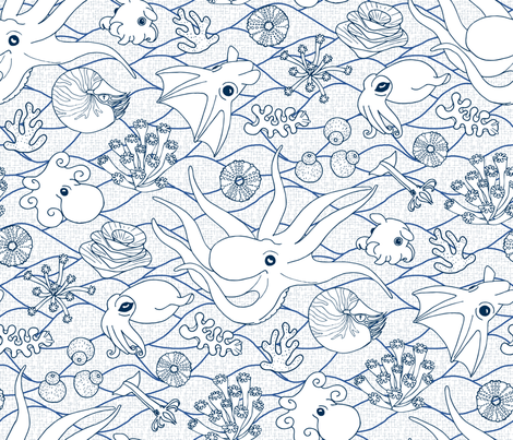 Cephalopods: White & Blue fabric by mia_valdez on Spoonflower - custom fabric