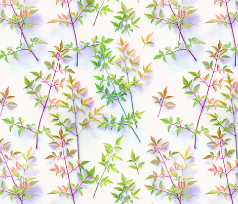 Bright Light Painted Leaf Pattern fabric by micklyn on Spoonflower - custom fabric