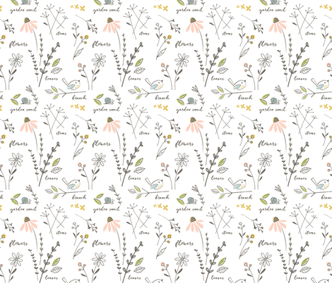 garden sketchbook white fabric by shindigdesignstudio on Spoonflower - custom fabric