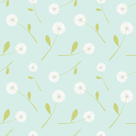 dandelion scatter mint fabric by shindigdesignstudio on Spoonflower - custom fabric