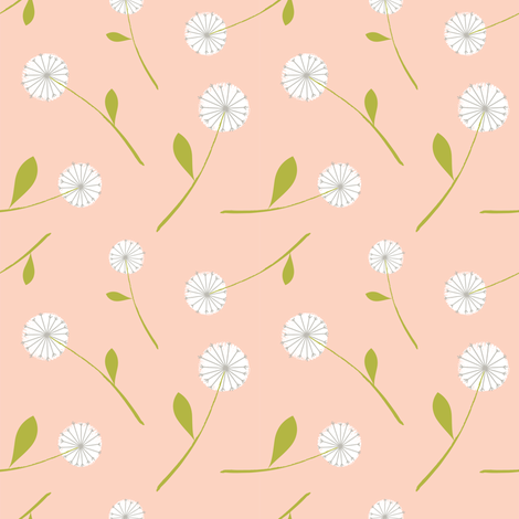 dandelion scatter blush fabric by shindigdesignstudio on Spoonflower - custom fabric