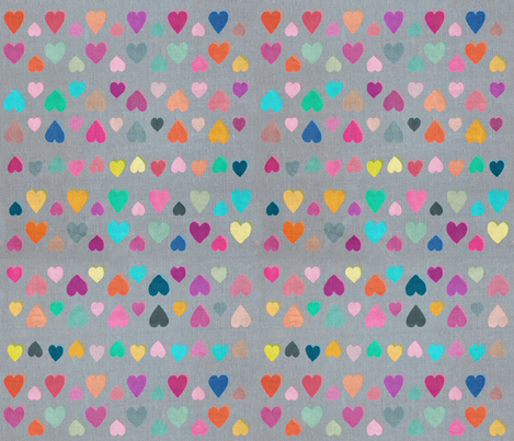 Happy Hearts - large version fabric by micklyn on Spoonflower - custom fabric