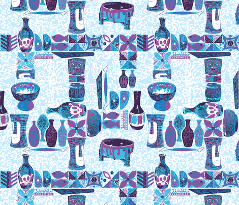 JV Ceramics Blue fabric by johnnievelour on Spoonflower - custom fabric
