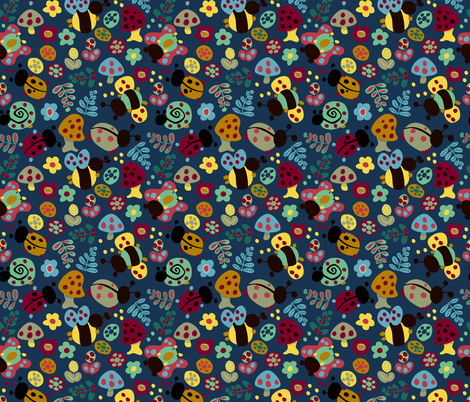Ladybugs & Bees fabric by alannah_brid on Spoonflower - custom fabric