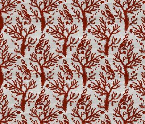 CrabDamaskRed fabric by beckarahn on Spoonflower - custom fabric