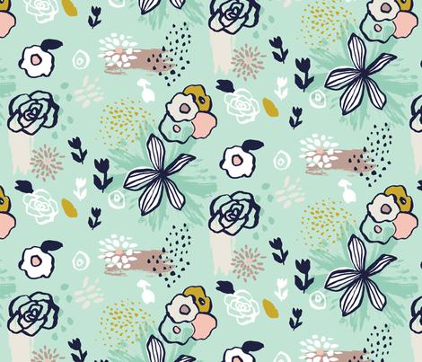 Maizy Aqua fabric by verysarie on Spoonflower - custom fabric