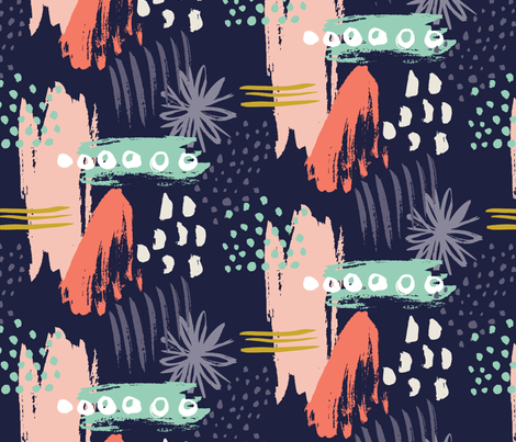 spring expression navy fabric by verysarie on Spoonflower - custom fabric
