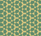 Holly Leaves in Greens over Pale Yellow