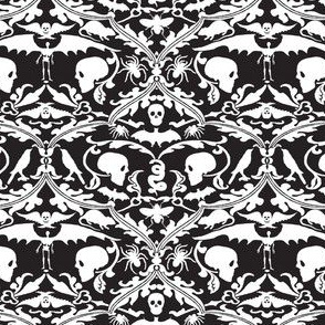 Skull Damask Black and White