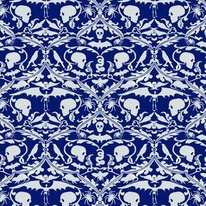 Skull Damask Blue and Grey