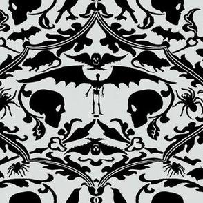 Skull Damask Grey and Black