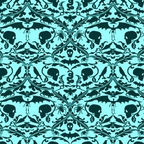 Skull Damask Teal Blue