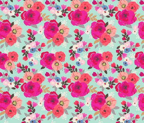 sweet pea floral aqua fabric crystalwalen spoonflower
