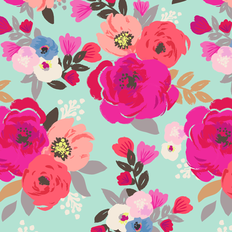 Sweet Pea Floral Aqua fabric by crystal_walen on Spoonflower - custom fabric