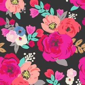 Sweet Pea Floral Black