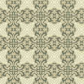 Ornate Floral Design in Green and Tan