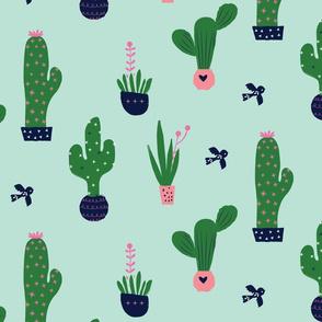 Cactus / green desert cacti botanicals bird plant mint succulent
