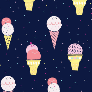Deluxe ice cream / cute fun ice cream girls room boys sweet navy blue whimsical