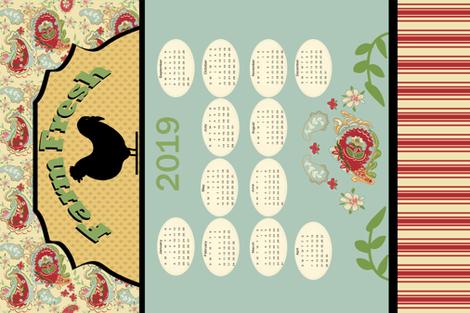 Tea Towel 2019_calendar_horizonal fabric by lana_gordon_rast_ on Spoonflower - custom fabric