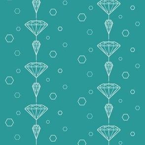 Diamond lines white on turqois
