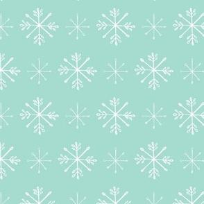 Snowflake Sketches on Aqua