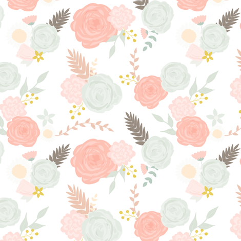 Summer blooms on white fabric by mintpeony on Spoonflower - custom fabric