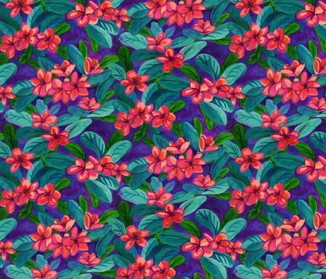 brilliant red plumeria fabric by maliuana on Spoonflower - custom fabric