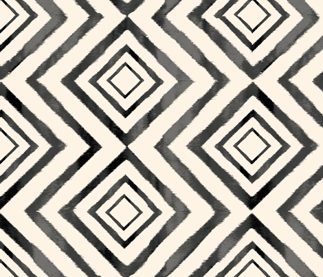 Diamond Ikat Black and White fabric by crystal_walen on Spoonflower - custom fabric