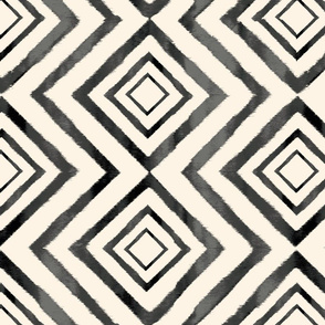 Diamond Ikat Black and White
